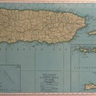 Map of Puerto Rico, Rand McNally for Collier's World Atlas,Four Color c.1949
