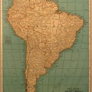 Map of South America, Rand McNally, Collier's World Atlas,Four Color c.1949