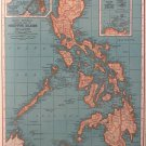 Map of The Philippine Islands, Rand McNally, Collier's World Atlas, Four Color c.1949
