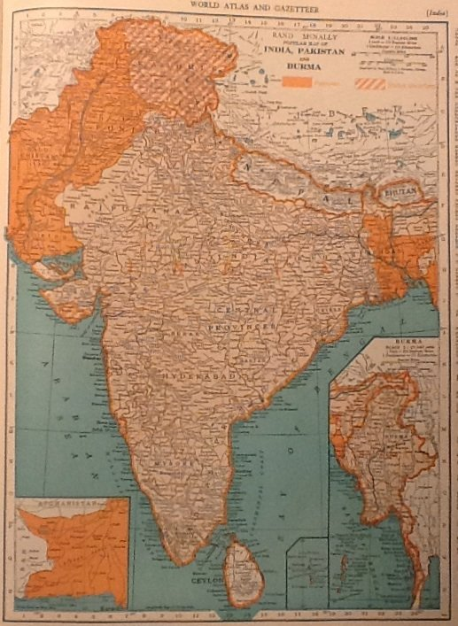 Map of india pakistan and burma rand mcnally colliers world map of india pakistan and burma rand mcnally colliers world atlas four color c1949 gumiabroncs Gallery