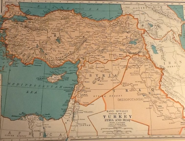 Map of Turkey, Syria and Iraq, Rand McNally, Collier's World Atlas, Four Color c.1949