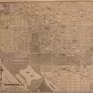 Washington D.C. Map, Rand McNally & Co., Collier's World Atlas, Black & White c.1949