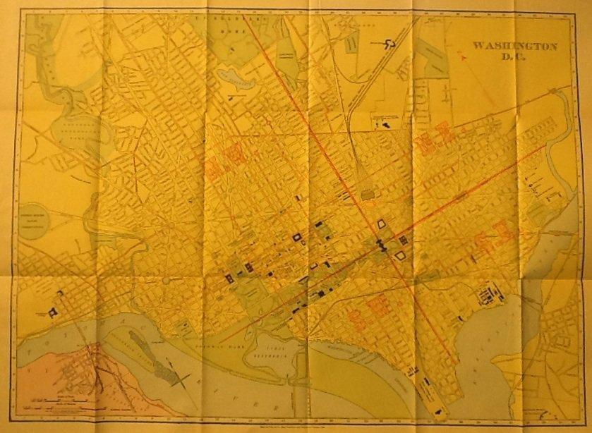 Map of Washington D.C., Rand McNally & Co. Business Atlas, Full Color c.1909