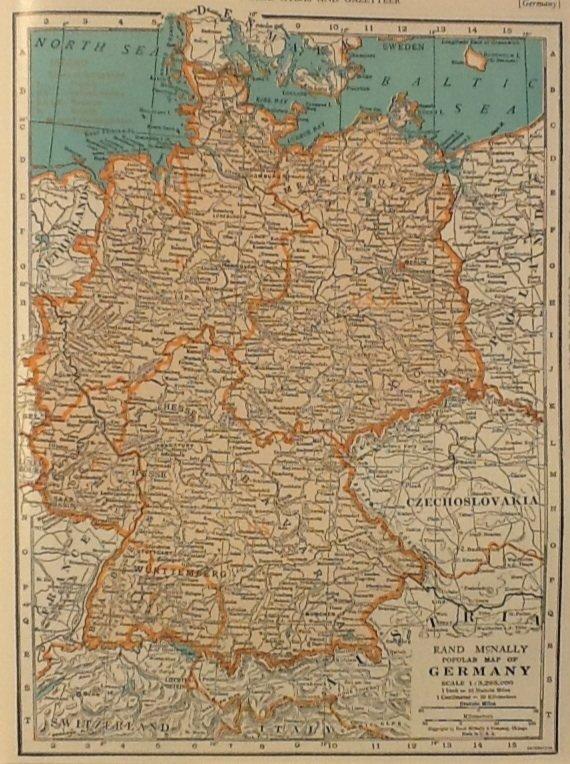 Map of Germany, Rand McNally c.1949