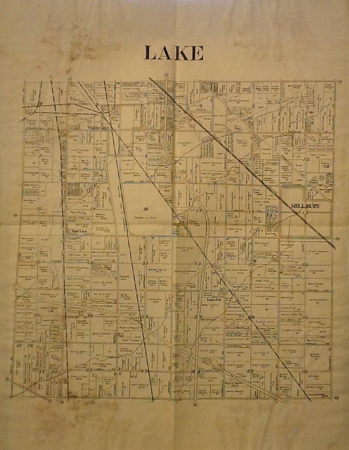 Map of Lake County Ohio, Black & White, 17 x 22 c.1930