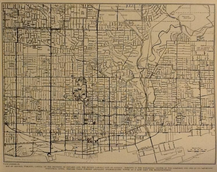 Map of Toronto, Rand McNally & Co., Collier's World Atlas, Black & White c.1949