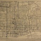 Map of Toronto, Rand McNally & Co., Collier's World Atlas, Black & White c.1949