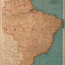 Map of Brazil & Guianas, Rand McNally, Collier's World Atlas, Four Color c.1949