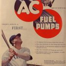 AC Fuel Pumps Ad, Babe Ruth in Uniform, Full Color c.1951