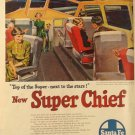 Santa Fe Railroad Super Chief Ad, Glass Topped Rail Car in Full Color c.1951