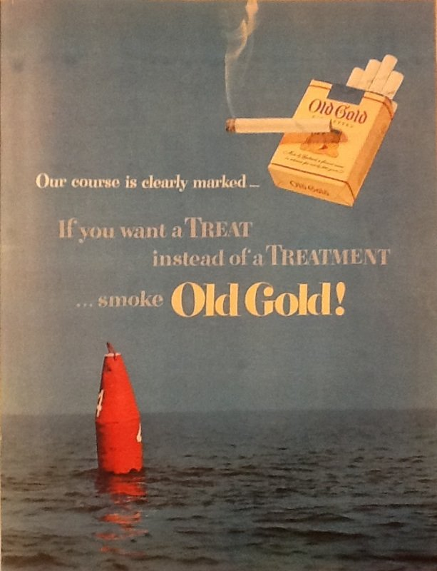 Old Gold Cigarettes Ad with Buoy on Water, Full Color c.1951