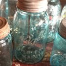 Atlas & Mason Ball Jars, Pair In Blue c.1915
