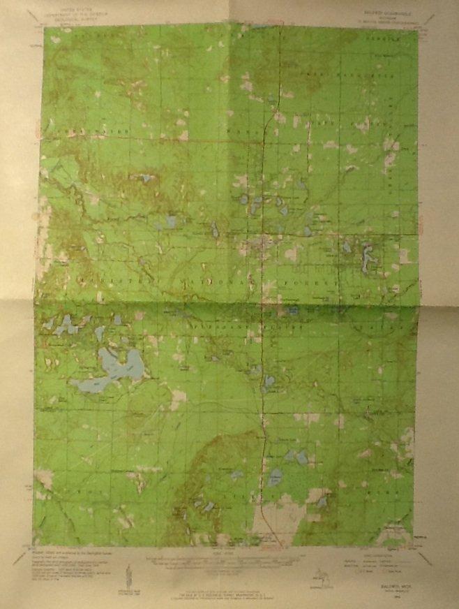 Lake County MI Map, Geological Survey Baldwin Quadrangle c.1959