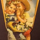 Feed Mill Ad Fan Giveaway, Kids with Daisies and a Lamb c.1940