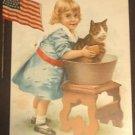 Behr Bros. & Co. Grand and Upright Pianos Ad Card, Original Flag Stickpin c.1893