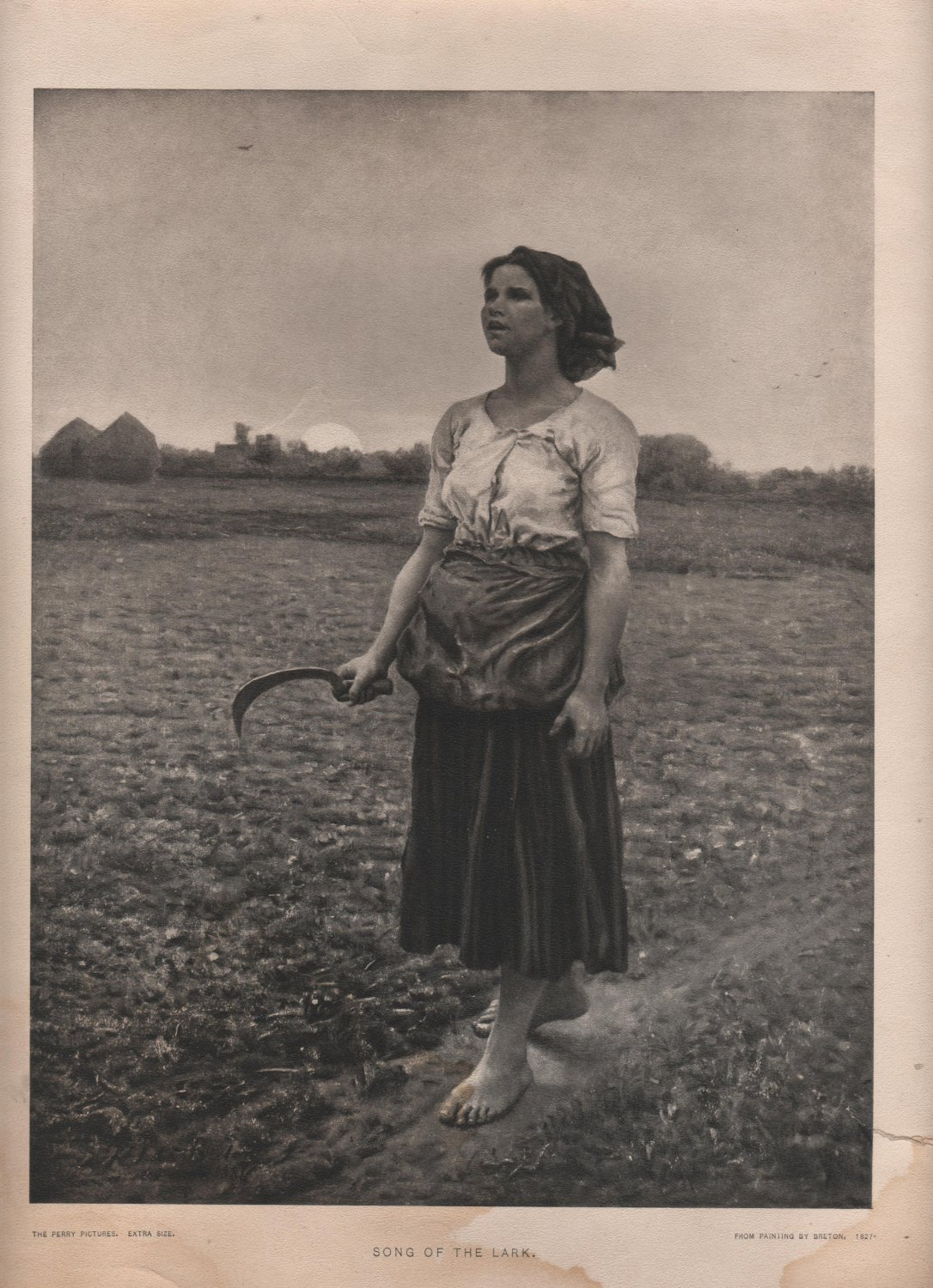 Song of The Lark Print by Breton, Barefoot Girl Singing, Perry Pictures Black & White Print c.1939