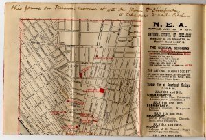 Official N.E.A. Map and Railroad Guide, Buffalo New York c.1896