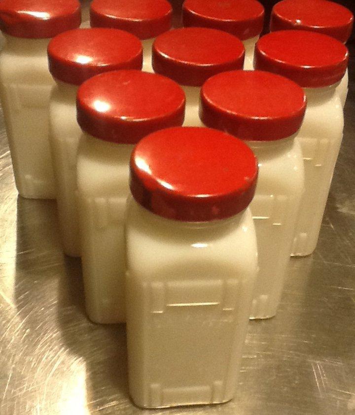 Milk Glass Spice Jars, Set of Ten with Pair of Aluminum Racks c.1940