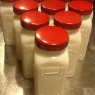 Milk Glass Spice Jars, Set of Ten with Pair of Aluminum Racks c.1940
