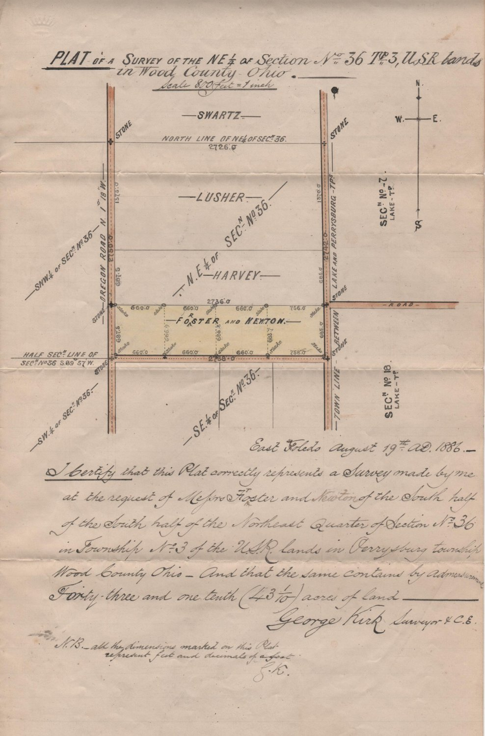 Hand Colored & Lettered Plat Map Survey, Perrysburg Township, Wood County, Ohio c.1886