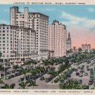 Miami Florida Postcard, View of McAllister, Columbus & Miami Colonial Hotels c.1930