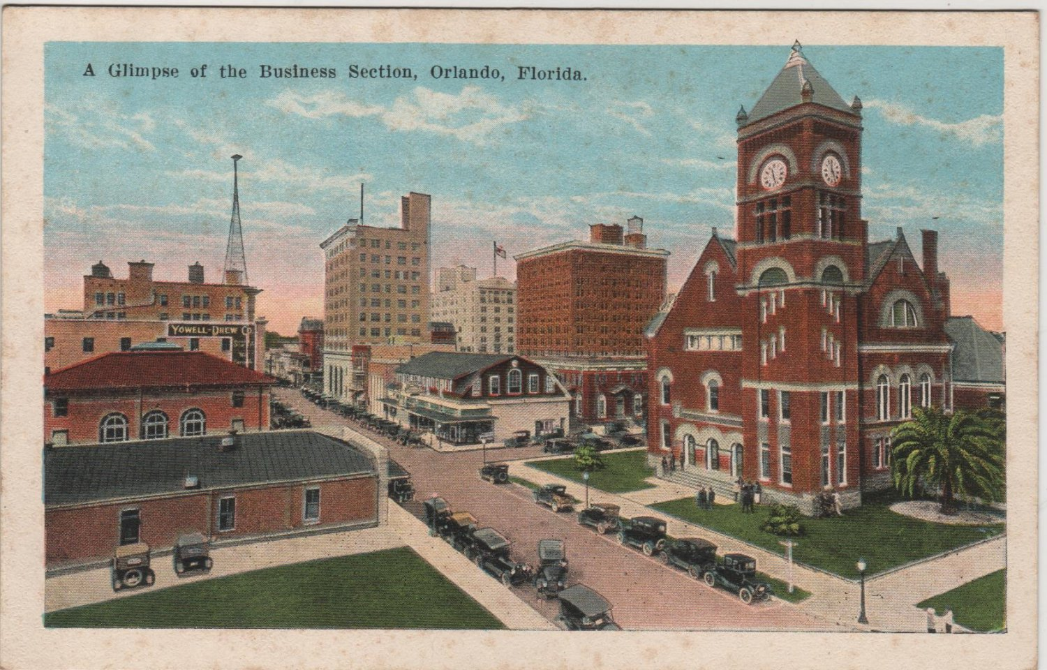 Orlando Florida Postcard, A Glimpse of The Business Section c.1939