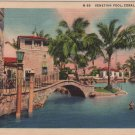 Coral Gables Florida Postcard, Swimmer in Venetian Pool c.1934
