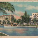 Miami Beach Florida Postcard, Pancoast Lake, Surfside and Wofford Hotels c.1934
