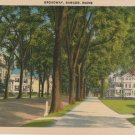 Bangor Maine Postcard, Stately Houses Down Broadway, Full Color c.1939