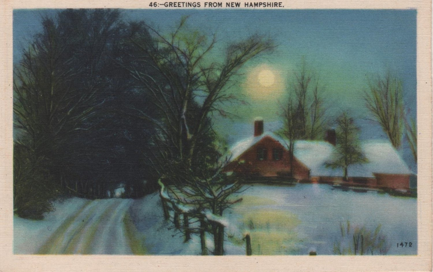 New Hampshire Postcard, Wintery Moonlit Scene with Cabin, Full Color c.1939