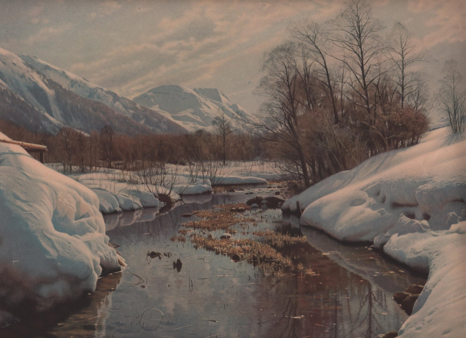 The First Thaw by Peder Mork Monsted, Pictorial Review Color Print c.1923