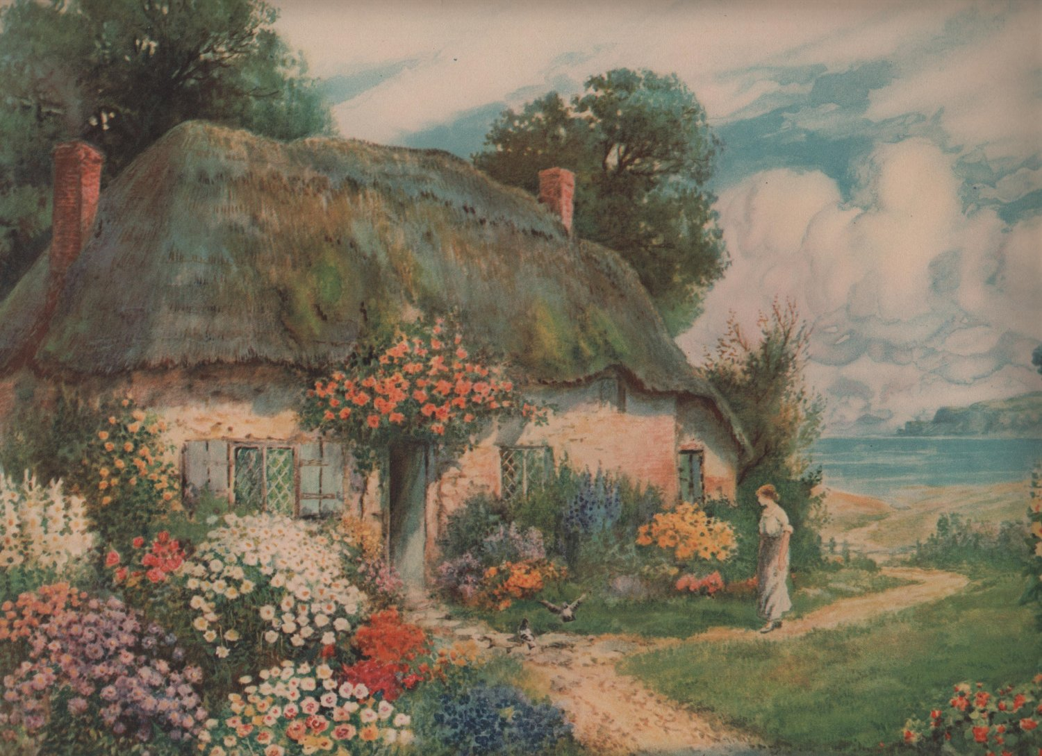 A Cottage By The Sea by T. Noelsmith, Pictorial Review Color Print c.1925