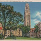 New Haven Connecticut Postcard, Branford Court, Harkness Tower & Yale University, Full Color c.1929