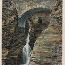 Entrance Cascade and Sentry Bridge, Watkins Glen New York Postcard c.1937