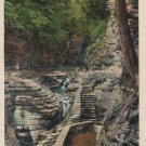 Watkins Glen New York Postcard, Suspension Bridge, Full Color c.1937