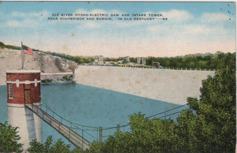 Kentucky Postcard, Dix River Hyrdo-Electric Dam and Intake Tower, Full Color c.1947
