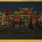 Los Angeles California ard, Night Time View of New Chinatown, Full Color c.1941