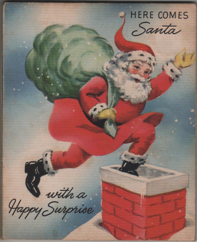 Christmas Dime Holder Money Card, Santa Going Down Chimney c.1950