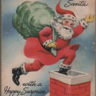 Christmas Dime Holder Money Card, Santa Going Down Chimney c.1950