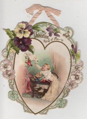 Valentines Day Card, Cranky Baby with Cranky Pet Bird, Color c.1890