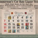 Christmas Advertising Calendar Giveaway, Zimmerman's Liquor Store, Dearborn Chicago c.1962