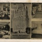 New York City Card, Hotel Piccadilly & Circus Bar, Center of Everything, Black & White c.1950