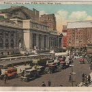 New York City Postcard, The Public Library and Fifth Avenue c.1925