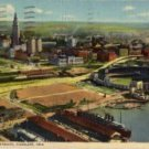 Cleveland Ohio Postcard, East 9th St. Pier & Municipal Stadium c.1942