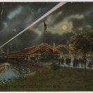 Cedar Point Ohio Postcard, Night Boat Leaving Dock c.1919