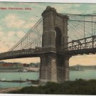 Cincinnati Ohio Postcard, Suspension Bridge, Full Color c.1908