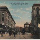 Toledo Ohio Postcard, St. Clair Street North from Adams Street, Full Color c.1914