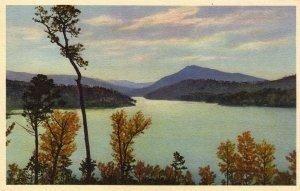 Lake Lure North Carolina Postcard, Old Fort Bay and Magnolia Mountain, Full Color c.1930