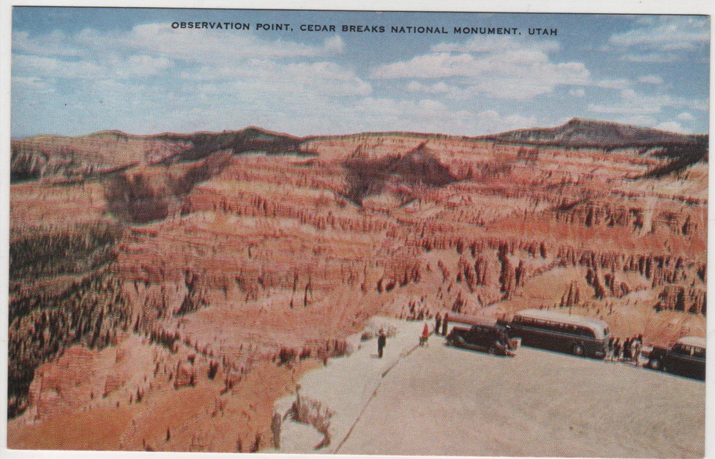 Utah Postcard, Observation Point at Cedar Breaks National Monument, Full Color c.1926