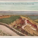 Yellowstone National Park Wyoming Postcard, South from Summit of Mt. Washburn c.1921